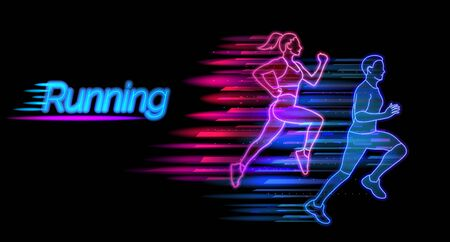 Running neon light landing page template. Man and woman jogging website layout. Healthy lifestyle and sports concept vector illustration