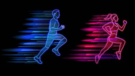 Man and woman running neon light style, jogging people set. Healthy lifestyle and sports concept vector illustration. 向量圖像