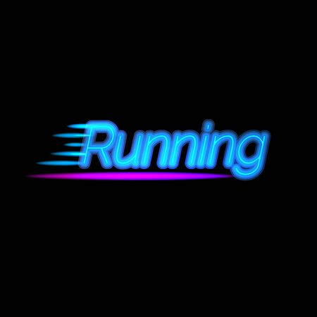 Creative neon light running  . Glowing sports vector lettering. Bright illumination typography. Healthy lifestyle and wellness concept