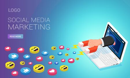 Social media marketing webpage template. Person with magnet attracting likes from  video on laptop screen, isometric vector illustration
