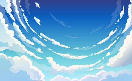 Blue Sky With White Clouds Clear Sunny Day, Landscape, Background With Clouds, Vector Illustration 向量圖像