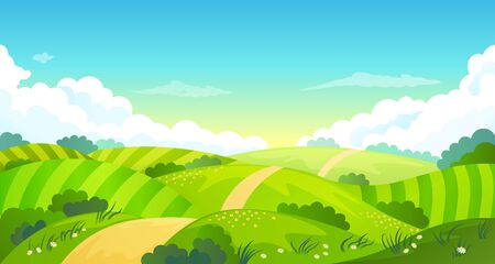 Colorful sunny summer bright fields, hills landscape, green grass, clear blue sky with clouds and sun, flat style vector illustration 向量圖像