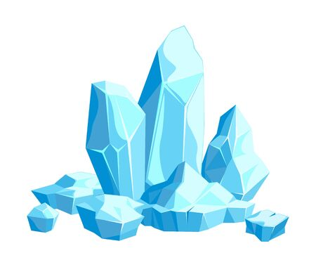 Pieces and crystals of ice, icebergs for game design and decor, cold frozen block, icy cliff, vector illustration