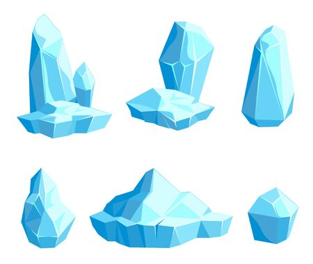 Set of pieces and crystals of ice, icebergs for game design and decor, cold frozen block, icy cliff, vector illustration 向量圖像