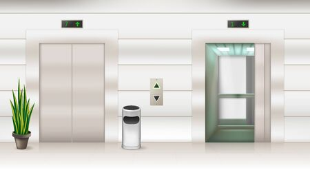 Contemporary passenger or cargo elevators with opened and closed doors 3D design. Modern metallic lifts in empty hall realistic vector illustration