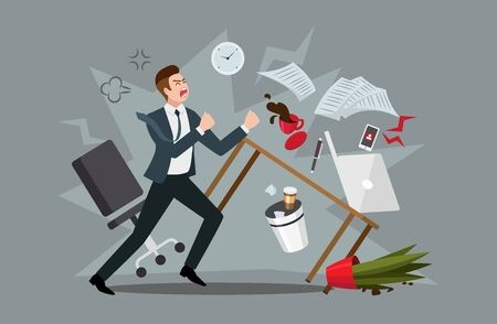 Stress at workplace concept. Furious businessman experiencing nervous breakdown or professional burnout at office, throwing furniture and yelling, vector illustration in flat style