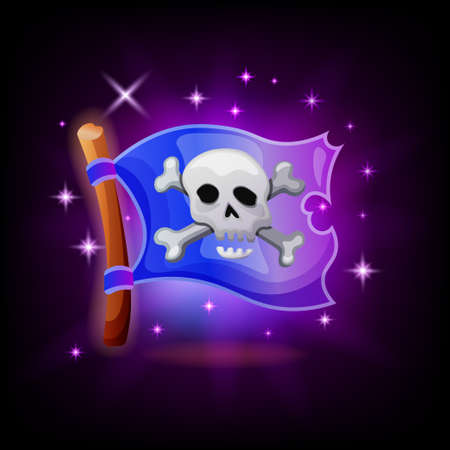Pirate flag video game icon with sparkles on dark background. Jolly Roger mobile application UI vector illustration in cartoon style 向量圖像