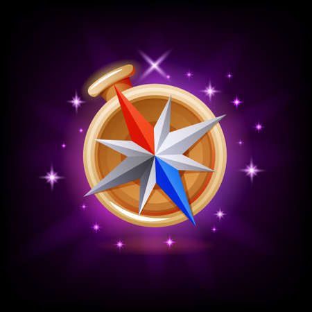 Sparkly compass GUI gaming or mobile app icon on dark background. Navigation equipment vector illustration in cartoon style
