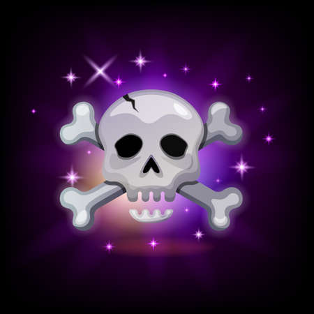 Video game icon with sparkly pirate skull and crossbones on dark background, vector illustration for graphic user interface in cartoon style