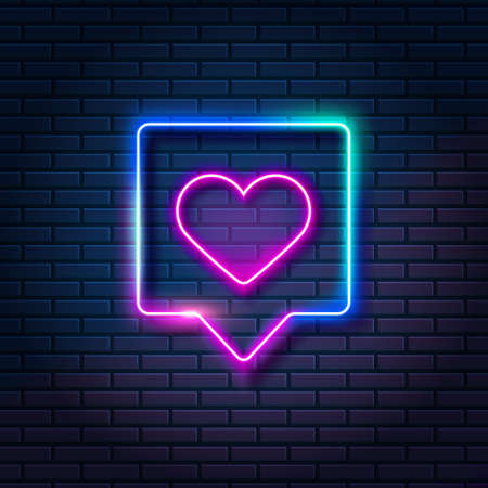 Neon heart in speech bubble against dark brick wall background. Glowing like symbol in frame, vector illustration