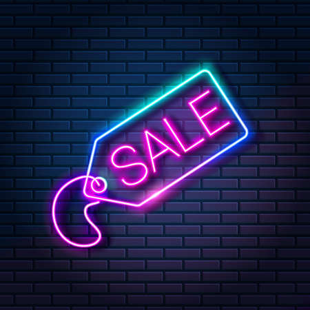 Glowing neon tag with word SALE against dark brick wall background. Shopping discount advertising banner, vector illustration
