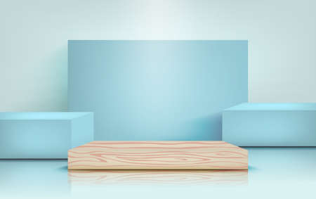 Podium for product presentation in pastel blue color, mockup for design. Pillar stand scenes, vector illustration in realistic style 向量圖像