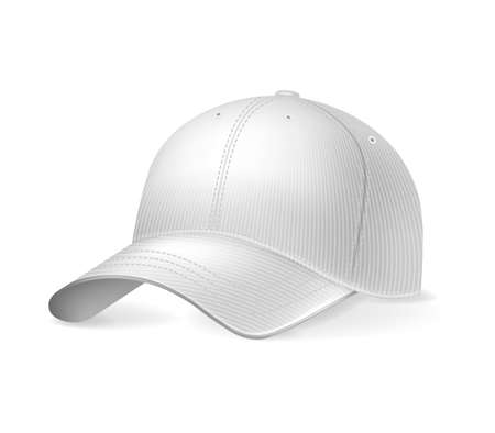 Baseball cap on white background, isolated. Sports headwear mockup for design, realistic vector illustration collection