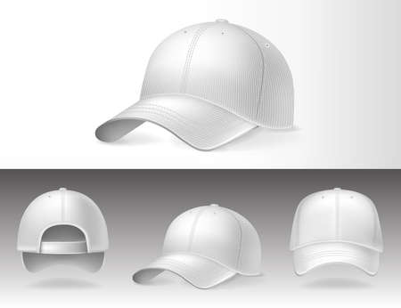 Baseball caps from different sides on white background, isolated. Sports headwear with mockup for design, realistic vector illustration collection