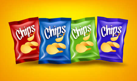 Set of red, blue and green chips packages with yellow crispy snacks on orange background, advertising composition concept, realistic natural potatoes chips poster, vector illustration