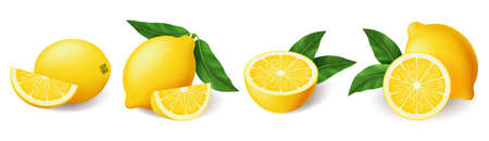 Realistic lemon with green leaf whole and sliced set, sour fresh fruit, bright yellow peel, set of lemons vector illustration isolated on white background 向量圖像