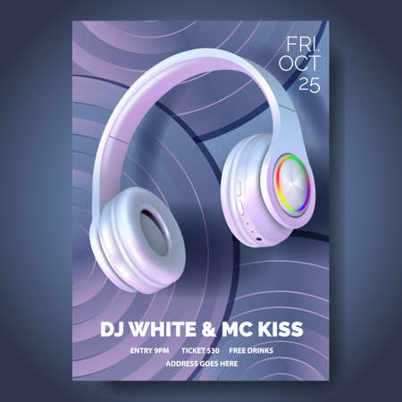 Club poster with headphones, dance party, fluid design flyer, invitation, banner template, dj music event, colorful White and pearl headphones on vinyl records, vector illustration.