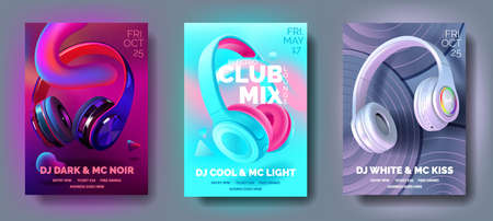 Set of Club posters with headphones, dance party, fluid design flyer, invitation, banner template, dj music event, colorful White, black, blue and pearl headphones, vector illustration.