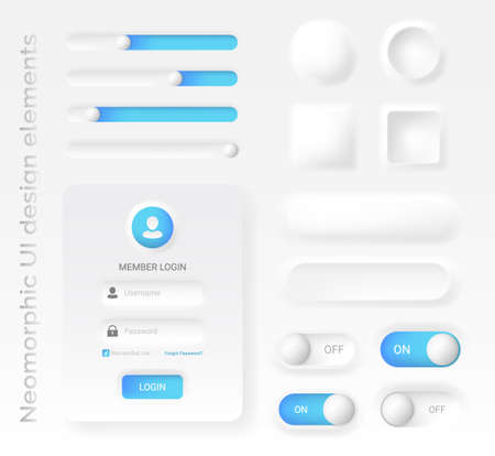 Neomorphic or Neomorphism style design elements, modern 2020 minimalistic white design UI UX kit, for web and mobile applications, Buttons, Login, Sliders, Switches vector illustration easy to edit