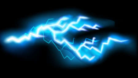 Flashes of lightning, isolated on transparent background. Thunderstorm electric bolt, vector illustration in realistic style.