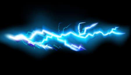 Flashes of lightning, isolated on transparent background. Thunderstorm electric bolt, vector illustration in realistic style. Vektorgrafik