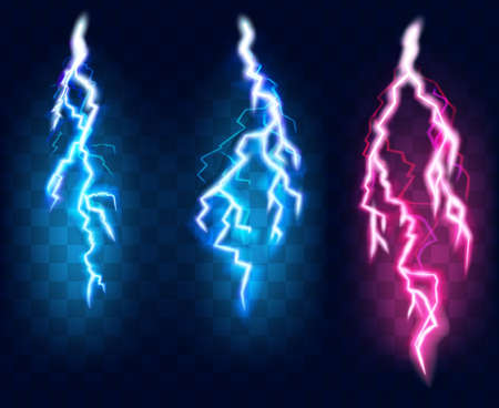 Flashes of lightning set, isolated on transparent background. Thunderstorm electric charges collection, vector illustration in realistic style 向量圖像