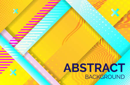 Hipster geometric abstract background. yellow blue banner with gradient stripes, textured background. Business template for print and web, vector illustration.