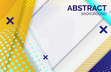 Hipster geometric abstract background. yellow white banner with gradient stripes, textured background. Business template for print and web, vector illustration. 向量圖像