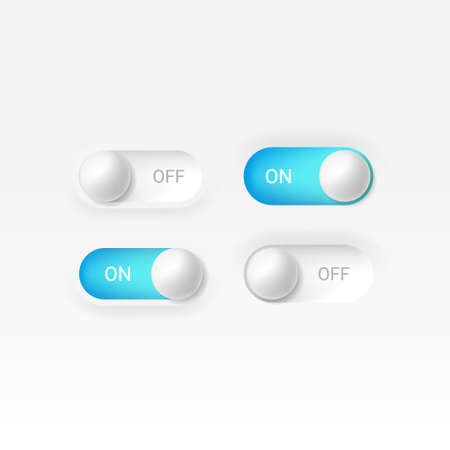 Editable neomorphism on off round shape power blue button set. Slider for website, mobile menu, navigation and application. Realistic vector design. UI component isolated on white background.