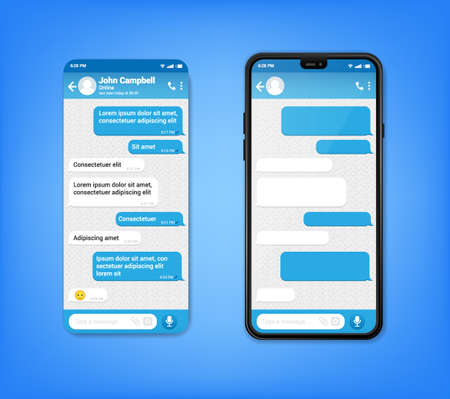 UI UX Phone chat bot blue interface. Text message mobile phone. Text messaging bubles in mobile application on a smartphone, vector. 向量圖像