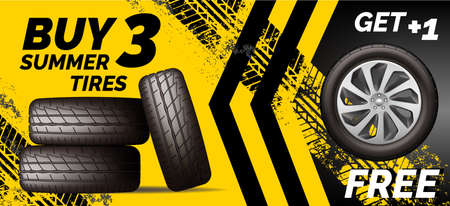 Car tires shop banner with discount offer, yellow background. Brochure template with automobile wheels sale ad, vector illustration. 向量圖像