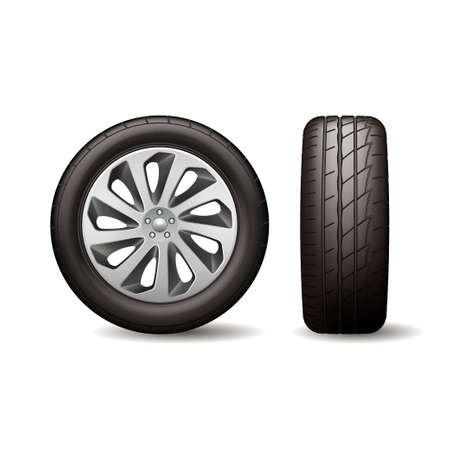 Realistic shining disk car wheel tyre isolated on white background vector illustration