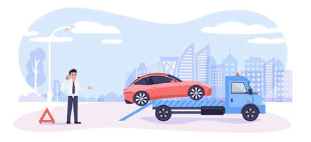 Roadside assistance concept. Broken car on tow truck and cartoon man calling emergency service, vector illustration in flat style. 版權商用圖片 - 152396582