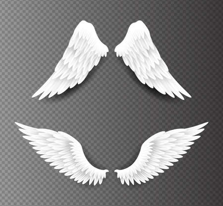 Pair of beautiful white angel wings isolated on transparent background, 3D realistic vector illustration. Spirituality and freedom concept 向量圖像
