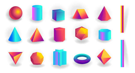 Set of 3d geometric shapes and editable strokes with holographic gradient isolated on white background, tetrahedron, figures, polygon primitives, maths and geometry, vector illustration