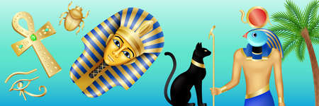 Egypt symbols banner. Cartoon poster with pharaoh, Horus, black cat and scarab on blue background. Vector illustration in flat style. 向量圖像