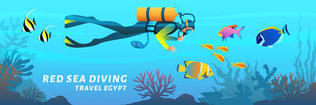 Travel Egypt cartoon banner. Red sea diving poster. Scuba diver swimming underwater among coral reef fish, vector illustration in flat style. 向量圖像