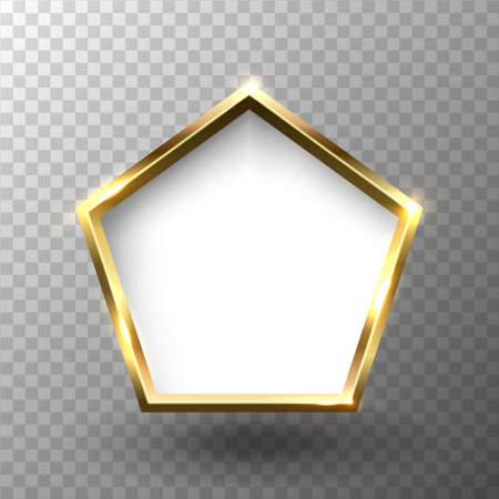 Abstract shiny golden pentagon frame with white empty space for text, on transparent background, vector illustration