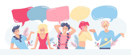 Communication, discussion, feedback concept. Group of people with speech bubbles on white background, space for sign. Flat vector illustration.