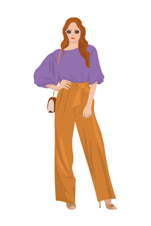 Women on high heels dressed in stylish trendy clothes, fashion girls, models wearing modern casual office style - trouser suit, jacket vector female cartoon characters, vector illustration