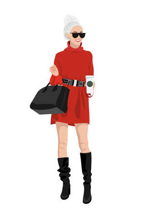 Women on high heels dressed in stylish trendy clothes, fashion girls, models wearing modern casual office style - trouser suit, jacket vector female cartoon characters, vector illustration 版權商用圖片 - 153340912