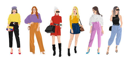 Set of women dressed in stylish trendy clothes, fashion girls, models wearing modern fashion street style - dress, skirts, trouser suits, jackets vector female cartoon characters, vector illustration