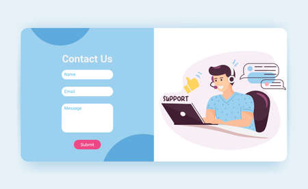 Tech support landing page template with contact us form. Customer service operator with headset talking to client, website mockup. Cartoon vector illustration.