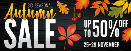 Advertising banner about Autumn Sale at the end of season with bright fall leaves. Invitation for shopping with 50 percent off. Trendy style, dark red background. Vector illustration 版權商用圖片 - 153616087