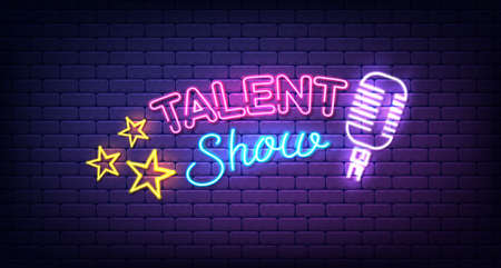 Talent show banner, poster, neon sign with stars and microphone, bright signboard, advertising or invitation, event, vector illustration. 向量圖像
