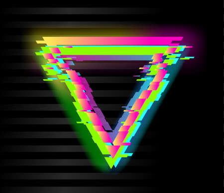Colorful glitch triangle geometric shape, frame with neon glitch effect on black background, vector illustration