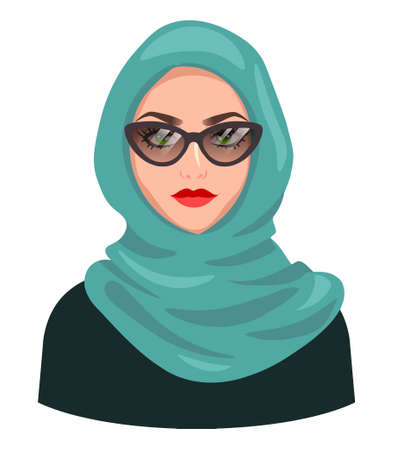 Muslim woman avatar, isolated on white. Young Arabic girl wearing hijab and sunglasses. Cartoon female portrait, flat vector illustration. 向量圖像