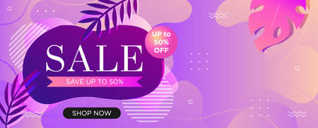 Super sale web banner template for social media promotions. Special 50% discount offer poster, vector illustration with copy space