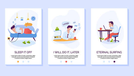 Procrastination and wasting time mobile website vector template. Laziness and social media addiction smartphone web page interface with walkthrough steps instructions.