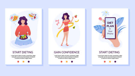 Dieting and weight loss mobile website vector template. Healthy eating cellphone web page interface with walkthrough steps instructions. 向量圖像